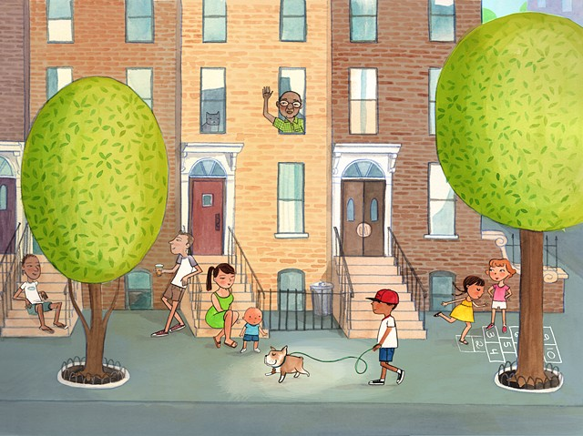 Brooklyn, brownstone, row house, walking dog, hopscotch, city street, urban, city illustration, NYC illustration, NYC art, NYC street scene, urban neighborhood, neighbors, friends, baby, girls, boy, tweens, dog, bulldog, watercolor