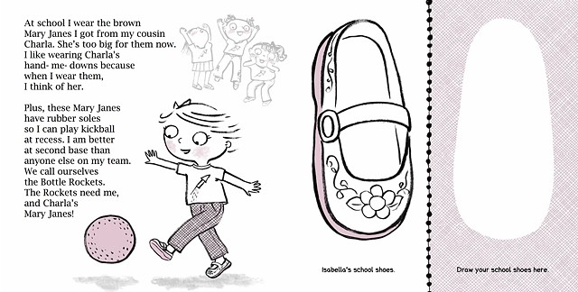 kickball, activity book, girls shoes, retro illustration, shoe illustration, children's book illustration