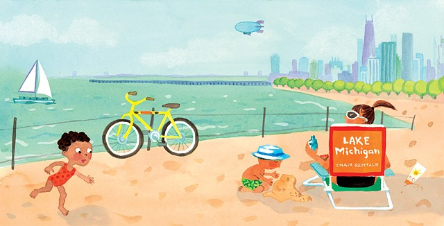 Lake Michigan, Chicago skyline, Chicago beach, city art, city illustration, beach babies