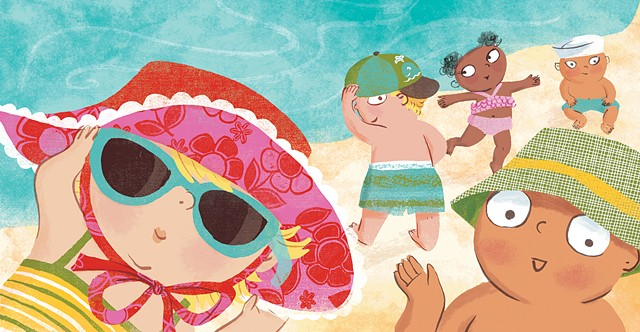 Beach Babies, duopress, children's book illustration, children's boo