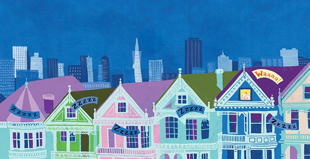 San Francisco houses, San Francisco skyline, cityscape, city illustration, city art