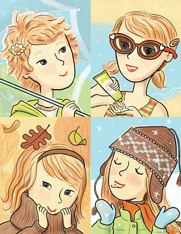 tween, middle school, hair-do, hair, hair style, growing out your hair, seasons, YA fiction, chapter books, book illustration, Violet Lemay