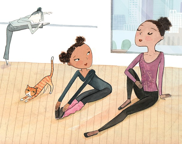 ballet, dancer, tween girl, cat stretching, stretch, urban, city illustration, loft, watercolor