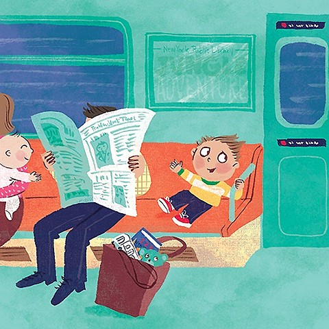 New York Subway, newspaper, commute, commuters, baby, children, children's book illustration, picture book