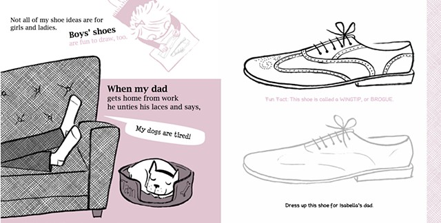 retro illustration, shoe illustration, couch illustration, men's shoes, wing-tip, shoe art, activity book, Isabella's Shoe Studio