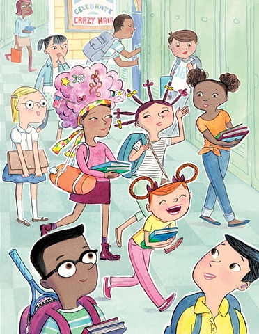 middle school, kid lit, YA, crazy hair day, hairstyle, children, tweens, teens, Violet Lemay