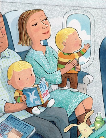 travel, jetset, flight, airplane seat, family, children's book illustration, Violet Lemay, adorable baby, twins