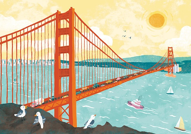 San Francisco, Golden Gate Bridge, San Francisco Bay, children's illustration