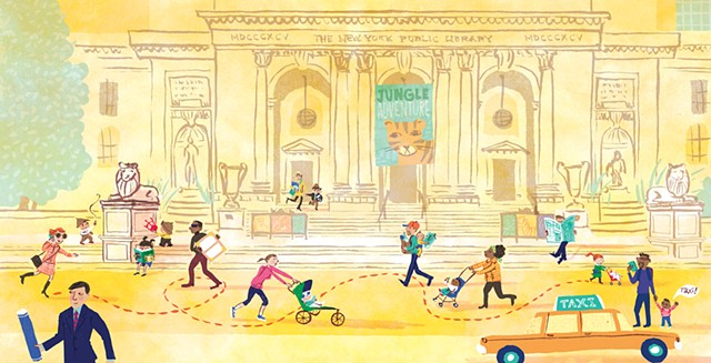 New York Public Library, taxi, children, babies, reading, stroller, adventure, children's book illustration, New York Baby