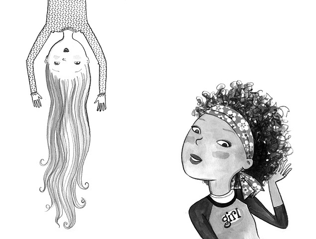 tween girls, hairstyle, girly, hair-do, black and white art, illustration