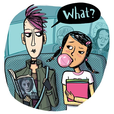 middle school, high school, school bus, Violet Lemay, ya fiction, kidlit, character design, goth, tween, school kids