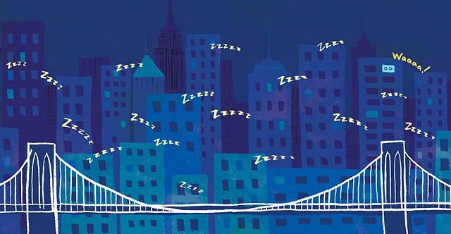 New York Skyline, sleepy city, Brooklyn Bridge, New York Baby, Duopress, children's book illustration