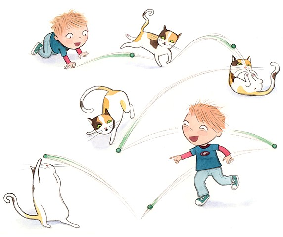 little boy, boy playing with cat, frisky cat, cat chasing ball, whimsical illustration