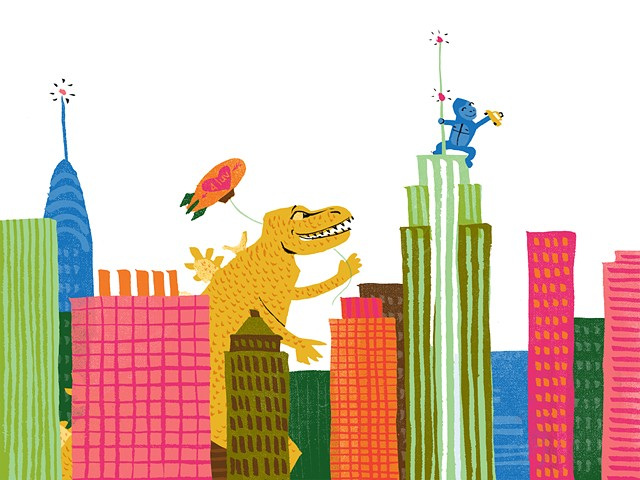 King Kong, Godzilla, city illustration, NYC, Big Apple, New York City, whimsical city art