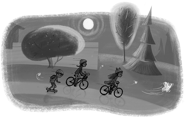Violet Lemay, children's book illustration, tween, science, biology, YA fiction, moth, bikes, adventure, moonlight, caper, school, classroom, diversity, teacher, middle school, caterpillar, cocoon, kid lit artist