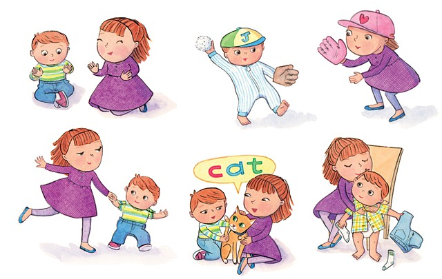 Bella's New Baby, Little Golden Book, baby illustration, Violet Lemay