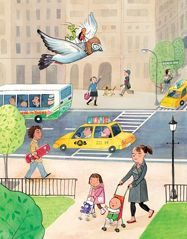 NYC, upper west side, Riverside Drive, New York, city art, city illustration, bus, taxi, Riverside Park, pigeon, children's book illustration, Violet Lemay, New York illustration