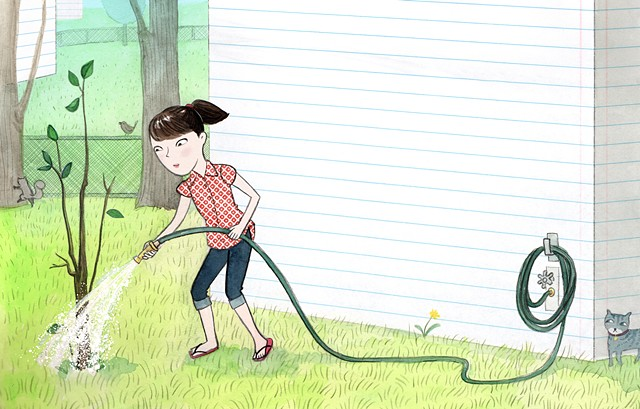 girl, tween, tween girl, gardening, kids gardening, cat, arbor day, plant a tree, suburban backyard, chain link fence, watercolor, children's book illustration
