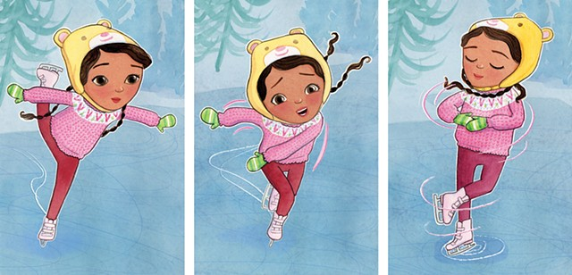 figure skater, ice skating, tween, Violet Lemay, watercolor, children's book illustration