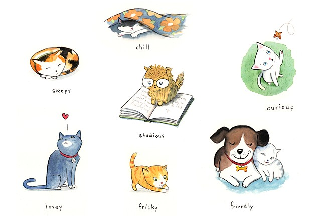 cat illustration, kitten, playful cat, cute cat, animal illustration, children's book illustration, kitty cat