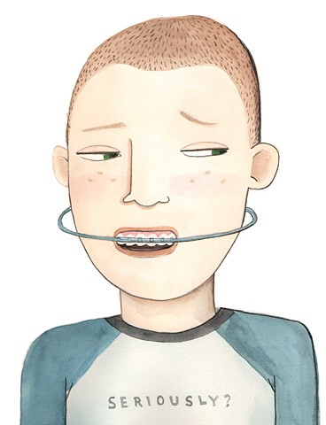 braces, tween boy, orthodontist, watercolor illustration, disdain, funny illustration