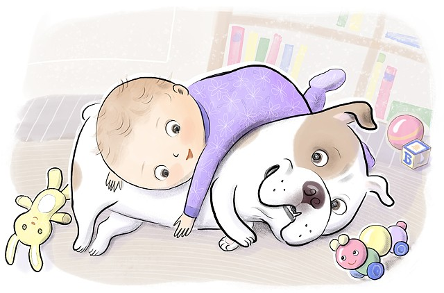 baby, bulldog, bullie, dog, puppy, adorable, Violet Lemay, children's book illustration, play