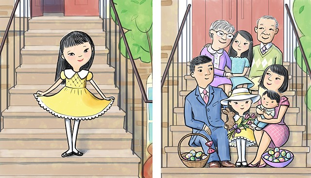 Easter, family, children's book illustration, Violet Lemay, Easter hat, Asian family, brownstone