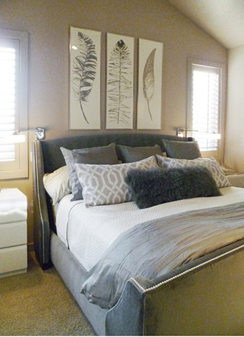 Neutral Feather Master Bedroom
