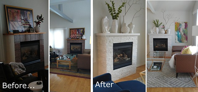 Biekfore & After: White Natural Stone Fireplace