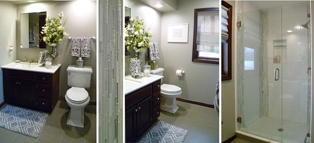 Gray Damask Bath Remodel