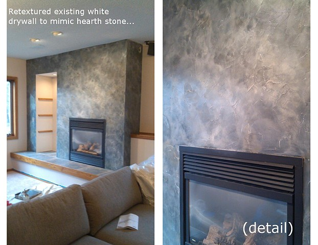 Gray Textured Fireplace