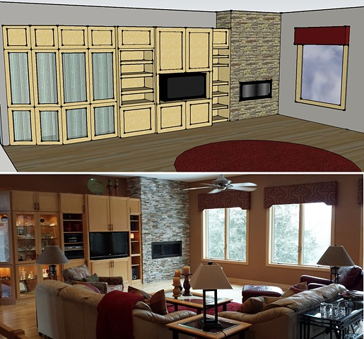 Modern Classic Fireplace update: Digital Elevation and AFTER