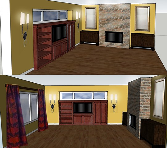 TV relocation/fireplace sketch