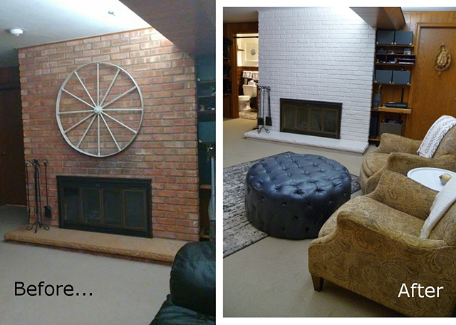 Midcentury Painted Brick B4 and After