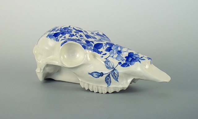 Blue on the Brain: stoneware sculpture with ceramic transfers