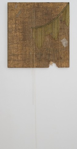 Untitled (brown panel with metallic fringe), 2013