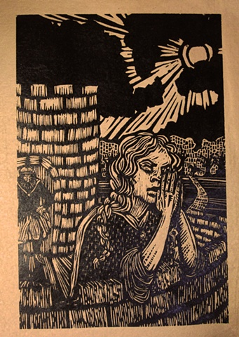 "woodblock print illustration based on ""Bluebeard,"" a story in the book ""Women Who Run with the Wolves"" by Clarissa Pinkola Estes, Ph.D."