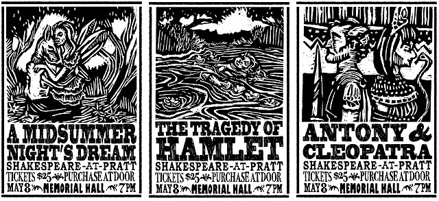 Block Prints, Pen and Ink, and Computer Illustration combined to create these posters for Shakespeare plays at Pratt.