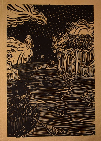 "woodblock print illustration based on ""Sealskin Soulskin,"" a story in the book ""Women Who Run with the Wolves"" by Clarissa Pinkola Estes, Ph.D."