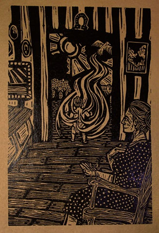 "woodblock print illustration based on ""The Three Golden Hairs,"" a story in the book ""Women Who Run with the Wolves"" by Clarissa Pinkola Estes, Ph.D."