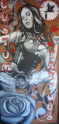 large acrylic tattoo sign