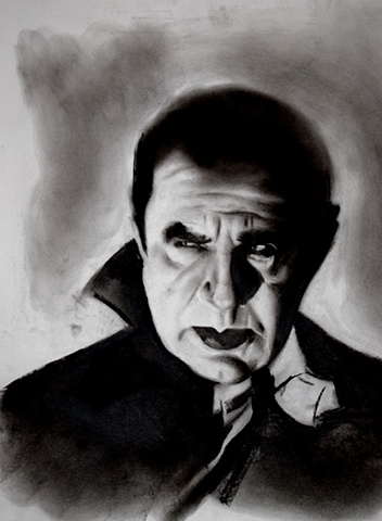 charcoal study of vintage horror icons