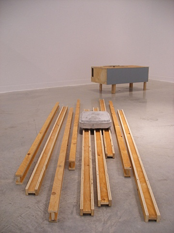 untitled (cavity bench, cast, and trusses)