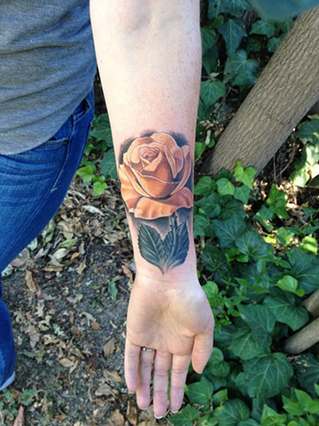 Realistic Rose Coverup Tattoo