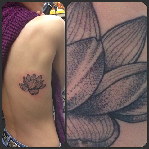 Stippled Lotus Flower Tattoo