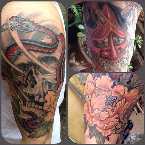 Skull, Snake, Peonies, and Hannya Half Sleeve Tattoo