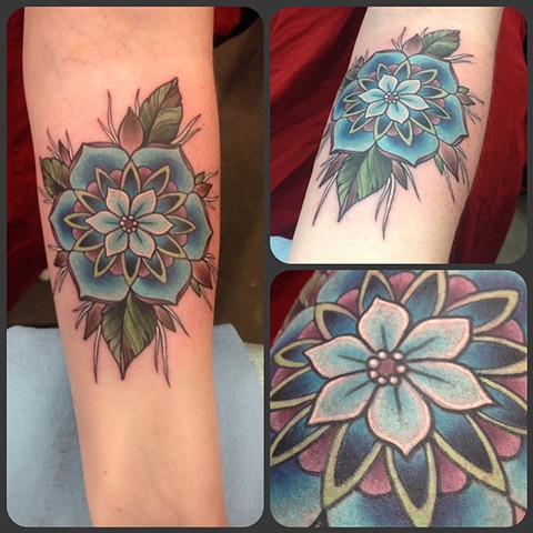 geometric flower tattoo color - photo #14