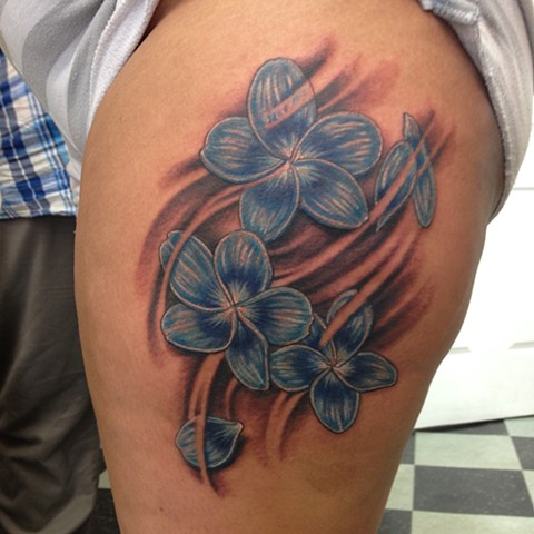 Blue Plumeria Flowers Tattoo