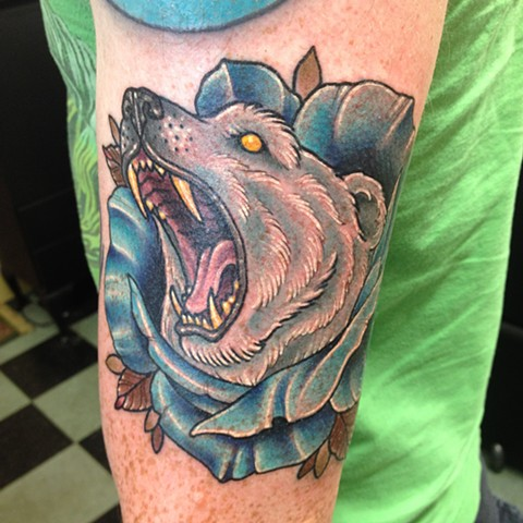 Polar Bear in Blue Rose Tattoo