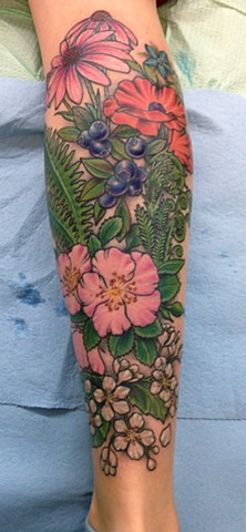 Edible Herbs, Berries, and Flowers Tattoo
